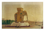View of the Elephant Fountain at the Place de La Bastille  circa 1805-1810