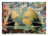 "Voyage Around the World""  Poster for the ""Compagnie Generale Transatlantique""  Late 19th Century"