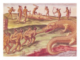 "Hunting Crocodiles  from ""Brevis Narratio""  Published by Theodore de Bry  1591"
