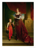 Marie Amelie de Bourbon Duchess of Orleans and Her Son  Prince Ferdinand Duke of Chartres
