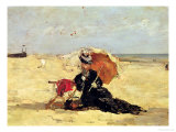 Woman with a Parasol on the Beach  1880