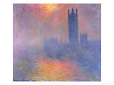 The Houses of Parliament  London  with the Sun Breaking Through the Fog  1904