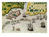 "The Arrival of the English in Virginia  from ""Admiranda Narratio""  1585-88"