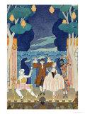 """Pantomime Stage, Illustration for """"Fetes Galantes"""" by Paul Verlaine 1924 Giclée par Georges Barbier"""
