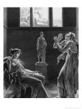 """Phaedra and Oenone  Illustration from Act I Scene 3 of """"Phedre"""" by Jean Racine 1824"""