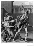"""Phaedra  Oenone and Hippolytus  Illustration from Act II Scene 5 of """"Phedre"""" by Jean Racine 1824"""