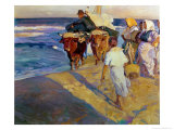 Towing in the Boat  Valencia Beach  1916
