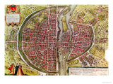 Paris Map from &quot;Civitates Orbis Terrarrum&quot; by Georg Braun and Franz Hogenbergh  French  1572-1617