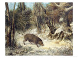 Wild Boar in the Snow  Signed as Courbet