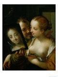 Laughing Couple with a Mirror  1596