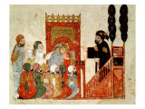 "Abou Zayd Preaching in the Mosque  from ""Al Maqamat"" by Al-Hariri"