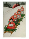 Four Little Girls on a Sledge