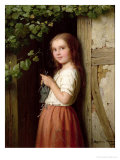 Young Girl Standing in a Doorway Knitting  1863