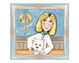 Blonde Lady Veterinarian and West Highland Terrier Westie Dog