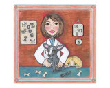 Framed lady veterinarian with chihuahua dog