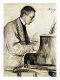 Portrait of Sergei Vasilievich Rachmaninov at the Piano  1916
