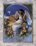 Black Angel with Dove