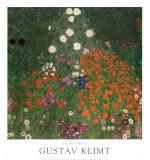 Jardin fleuri Reproduction d'art par Gustav Klimt