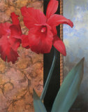 Red Lily with Teal Damasque