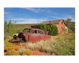 Abandoned Car and Old West Stone House