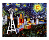 Space Needle with Starry Night