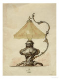 A Drawing of a Silver Table Lamp with a Twisted Fluted Body in Rococo Style