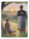 Country Women Chatting  Sunset  Eragny