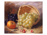 An Upturned Basket of Grapes  an Apple and Other Fruit
