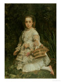 Portrait of Gracia  Daughter of Evans Lees  Full Length  Wearing a White Dress  Picking Flowers