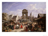 A View of the Market and Fountain of the Innocents  Paris