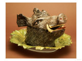 A German Fayence Boar's Head Tureen Cover and Stand