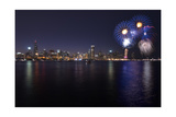 Chicago's Lakefront Skyline With Fireworks In Color