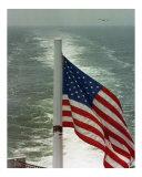 American Flag on ship entering Chesapeake Bay
