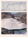 Arkansas River from Above - Signed Reproduction pour collectionneurs par Christo