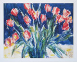 Red Tulips on Blue  1930