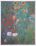 Le jardin aux tournesols Reproduction d'art par Gustav Klimt