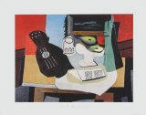 Guitar, Glass and Fruit Reproduction pour collectionneurs par Pablo Picasso