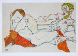 Entwined Reclining Couple  1913