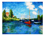 Red Boats  Argenteuil- Reproduction- Claude Monet