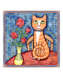 Ginger Tabby Cat With Red Roses