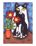 Tuxedo Cat With Flowers