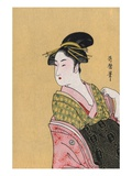 Japanese Matchbox Label with a Woman in a Pink and Green Kimono