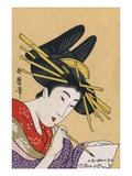 Japanese Matchbox Label with a Woman Painting