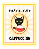 Black Cat Cappuccino Vintage Poster Print