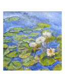 Floating Lilies on Blue