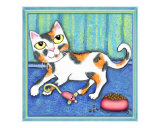Calico Cat With Food and Toy