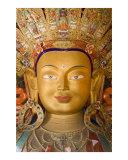 Golden statue of Future Buddha Maitreya prayer hall in Thiksey Monastery