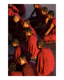 Tibetan Buddhist monks in red robes  listening teachings in Dalai Lama temple Dharamsala  India