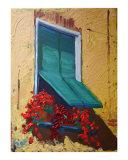 Chianti window with geraniums