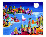 Colorful Houses Under The Moon